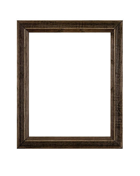 Picture Frame Rustic Brown in Rough Wood, White Isolated stock photo