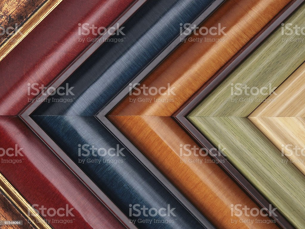 Picture frame samples in various colors and textures royalty-free stock photo