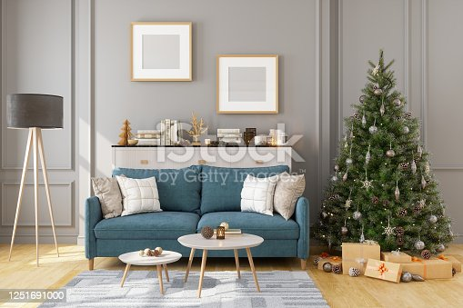 Picture Frame, Sofa And Christmas Tree In Living Room