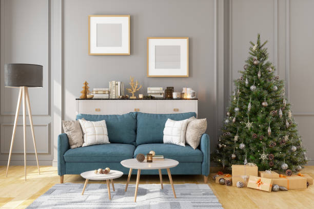 Picture Frame, Sofa And Christmas Tree In Living Room Picture Frame, Sofa And Christmas Tree In Living Room christmas interior stock pictures, royalty-free photos & images