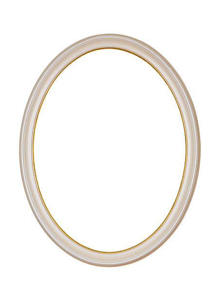 Picture Frame White Oval Circle, Isolated Design Element stock photo