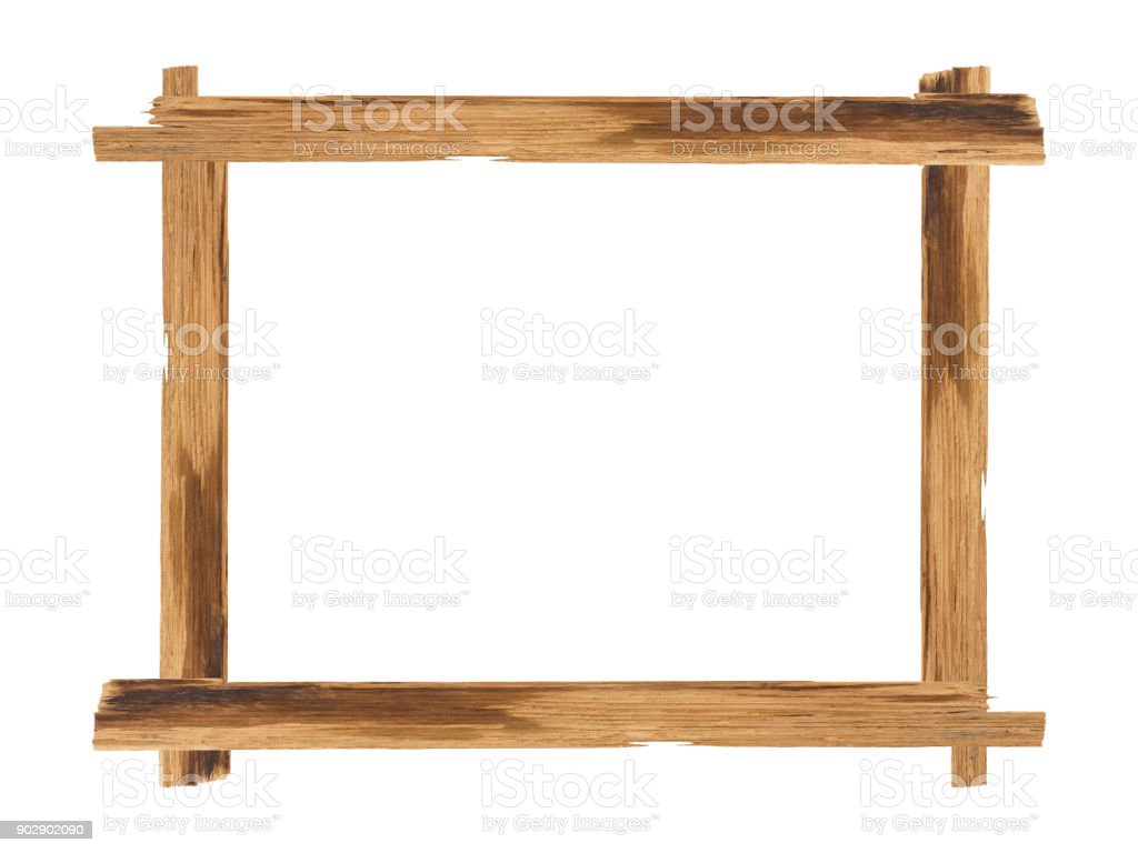 Picture frames made of plank wood isolated on white background stock photo