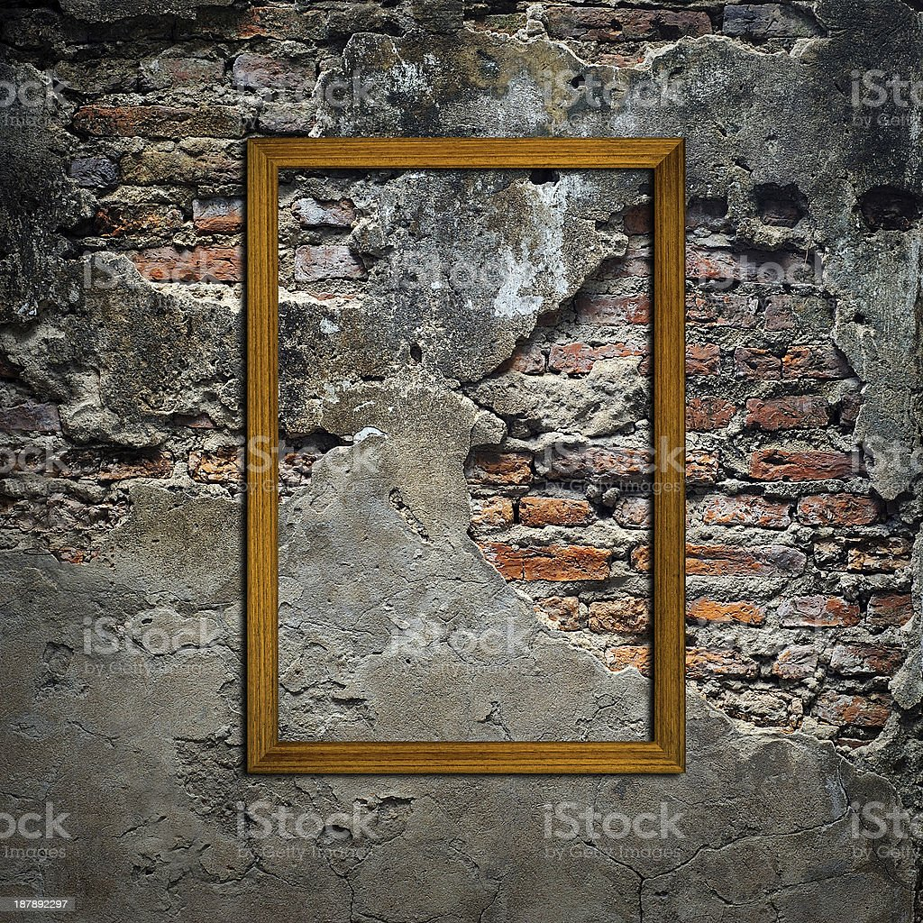 Picture frames on concrete  wall royalty-free stock photo