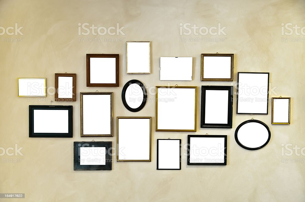 picture frames on vintage wall painting stock photo