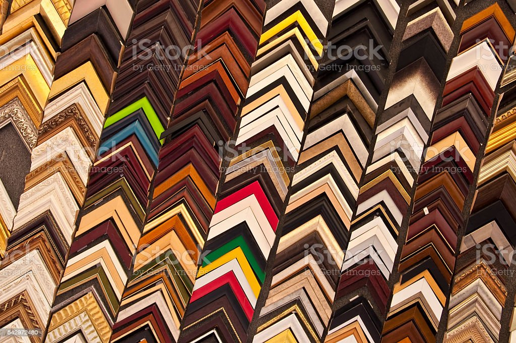 Picture frames samples in a workshop stock photo