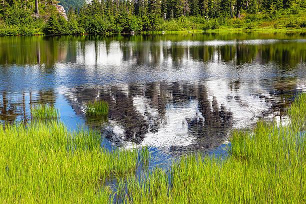 Lago Picture abstrato Monte Shuksan Washington, EUA - foto de acervo