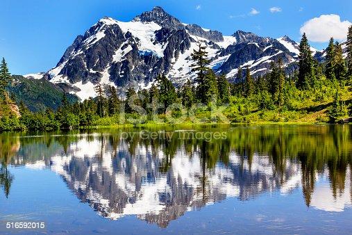 Picture Lake Evergreens Mount Shuksan Mount Baker Highway Snow Mountain Trees Washington Pacific Northwest USA