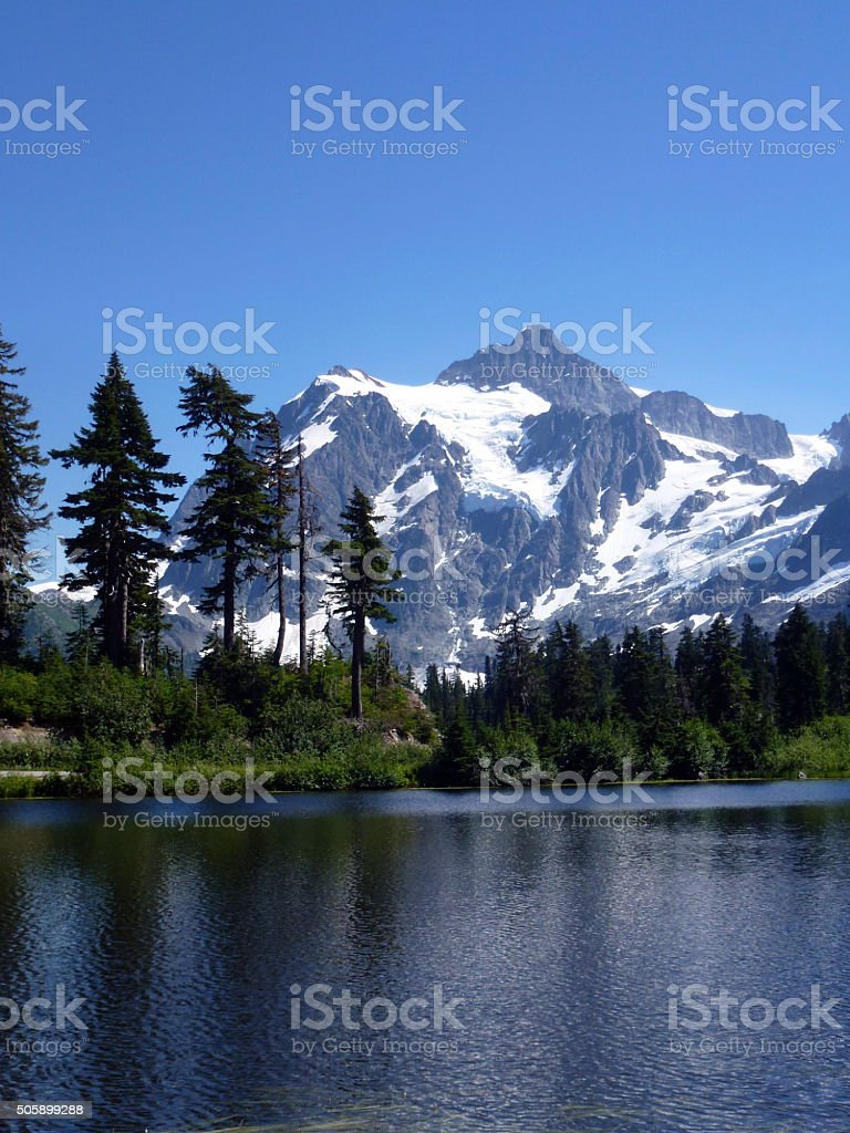 Picture Lake in Summer,Mt Baker stock photo