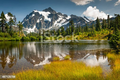 Picture Lake is the centerpiece of a strikingly beautiful landscape in the Heather Meadows area of Mt. Baker, Washington, USA.