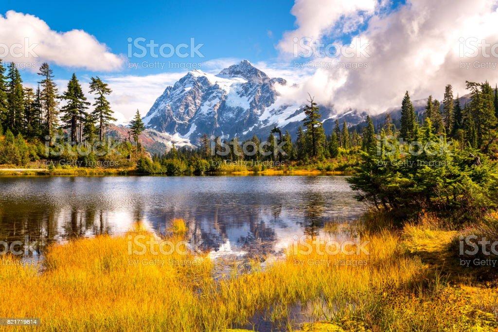 Picture lake mt.shuksan in fall colors,WA stock photo