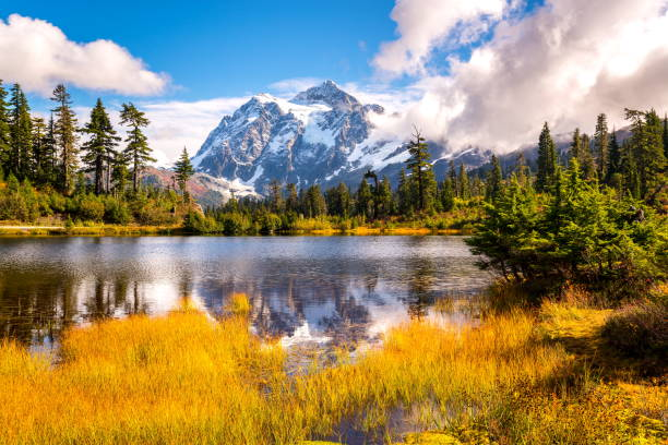Picture lake mt.shuksan in fall colors,WA stock photo