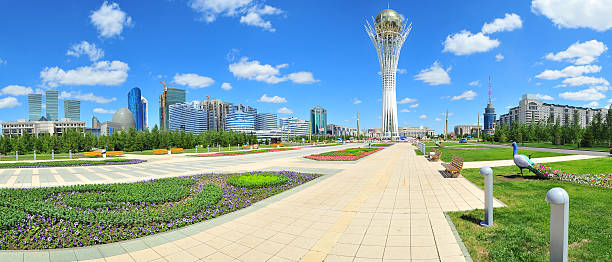 A picture of a besmirch day in Astana Baiterek landmark, symbol of Astana, capital of Kazakhstan. kazakhstan stock pictures, royalty-free photos & images