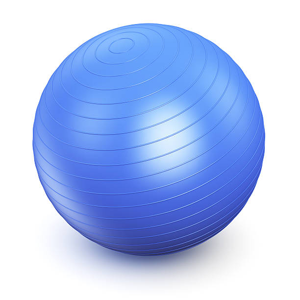 A picture of a blue fitness ball  stock photo