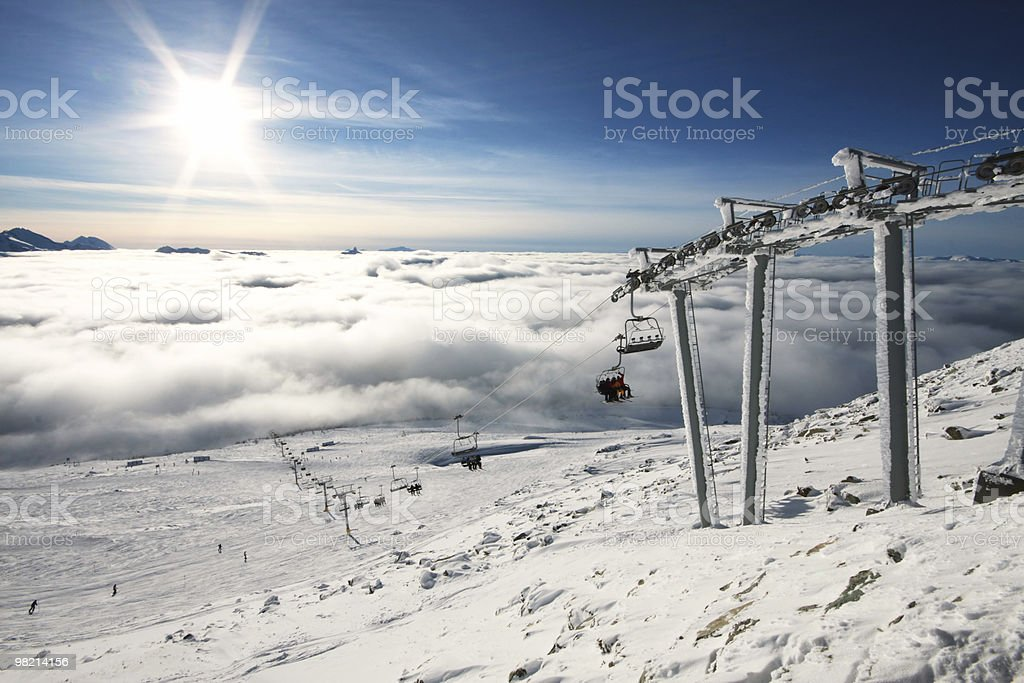 A picture of a blue sky shining over sand royalty-free stock photo