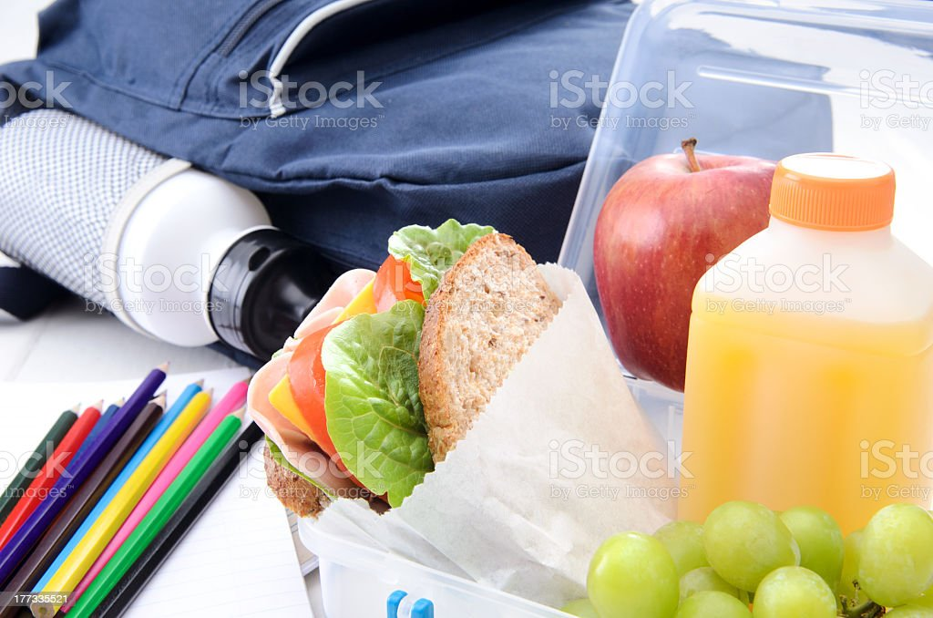A picture of a book bag , lunch and colored pencils royalty-free stock photo