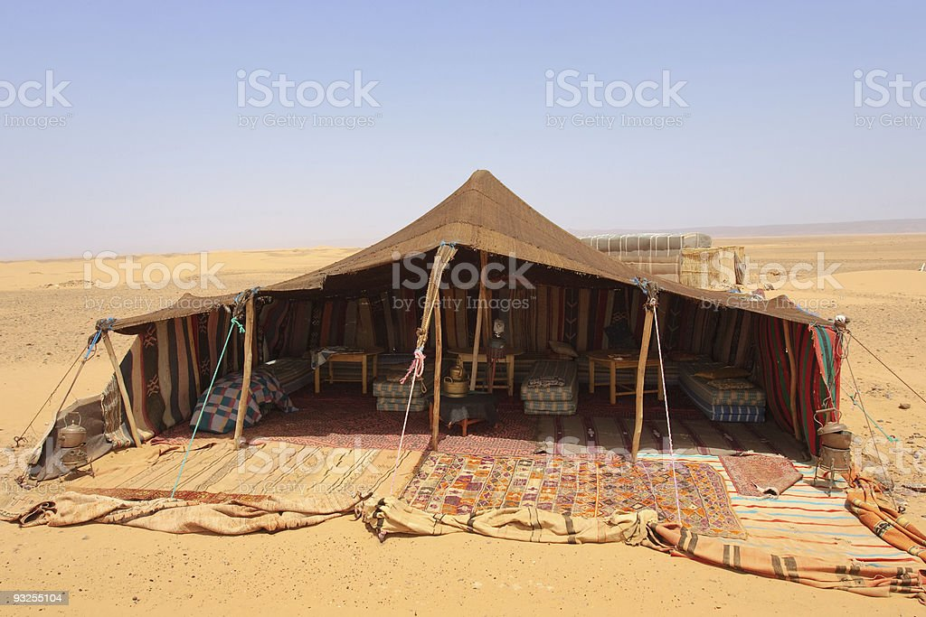Picture of a brown desert camp stock photo