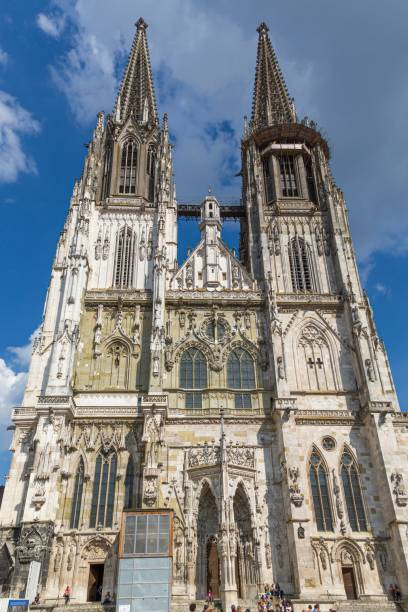 Picture of a church in the old town of Regensburg in Bavaria Germany stock photo