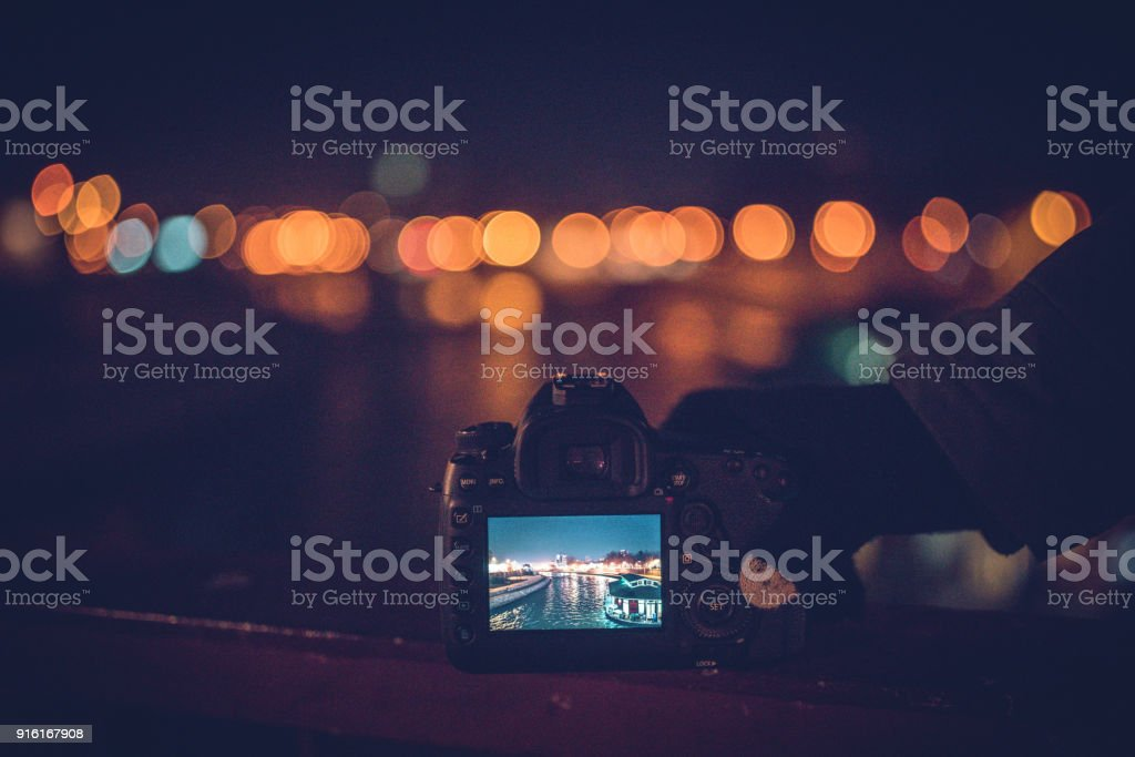 Picture of a city at night stock photo