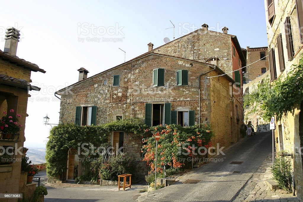 Picture of a city street in Montepulciano, Italy stock photo