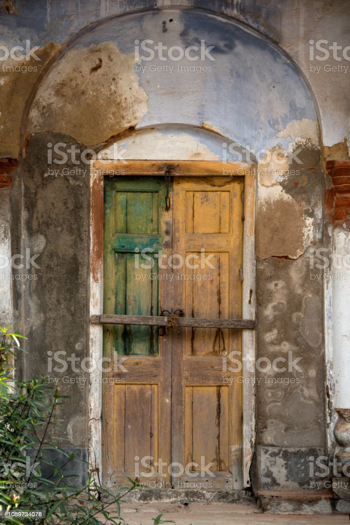 Picture of a color full old door from Kolkata, West Bengal, India. stock photo