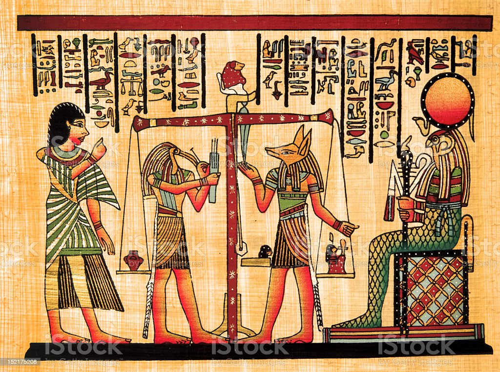 Picture of a drawing of Egyptian papyrus stock photo