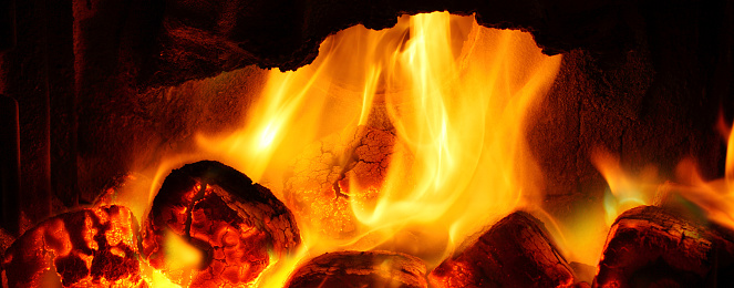 Picture Of A Fire Burning Coal In Fireplace Stock Photo Download
