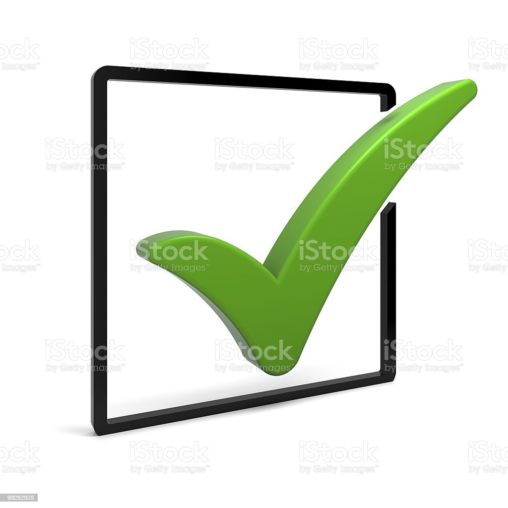 A picture of a green checkmark inside of a box stock photo