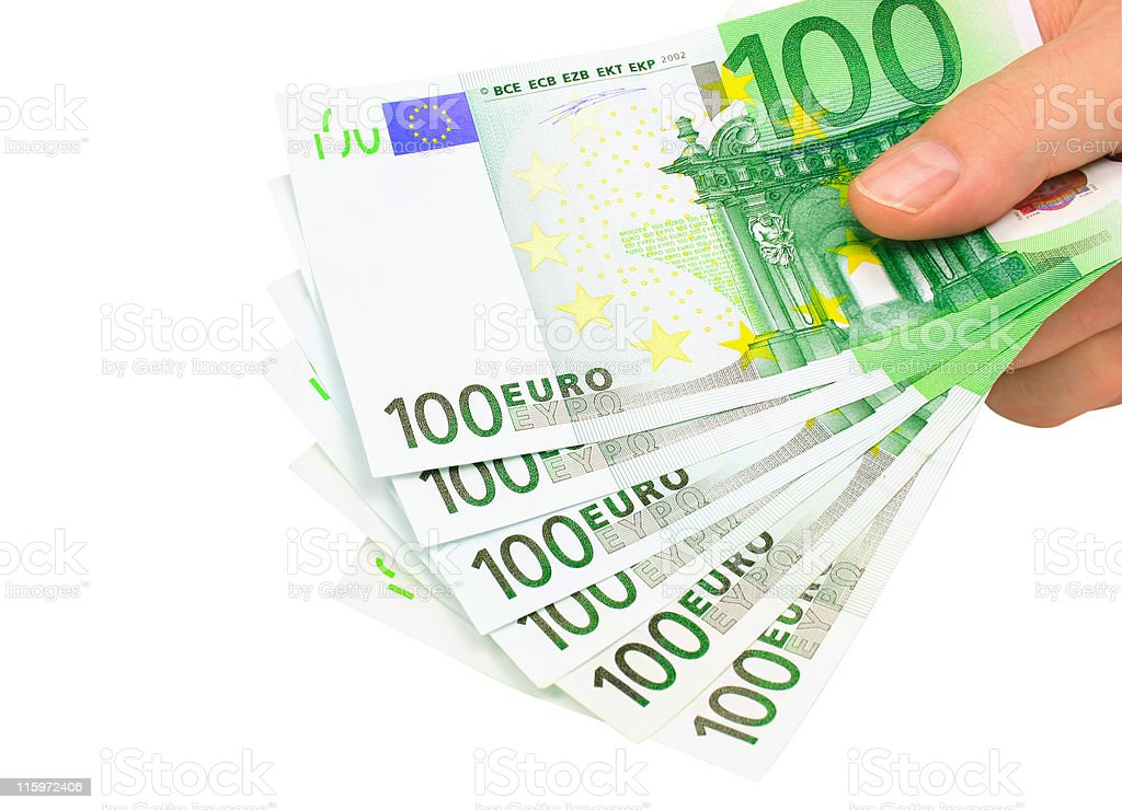 Picture of a hand holding euro notes, clipping path included stock photo