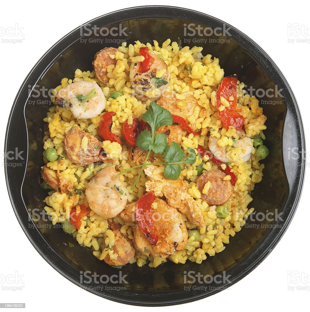 A picture of a hot, tummy Paella ready meal stock photo