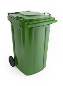istock A picture of a large green rubbish bin with wheels on  175526948