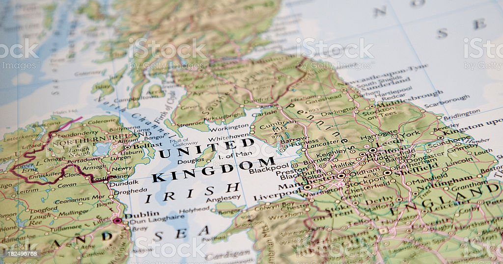 Picture of a map focused on the words United Kingdom stock photo