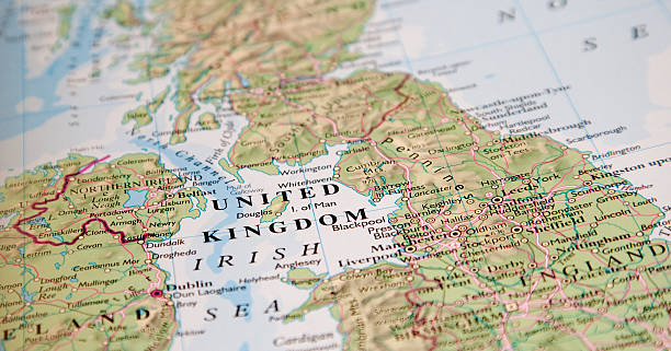picture of a map focused on the words united kingdom - birleşik krallık stok fotoğraflar ve resimler