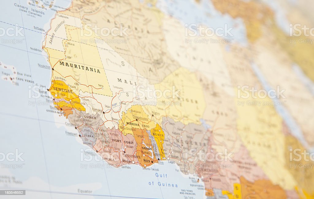 A picture of a map that focuses on West Africa stock photo