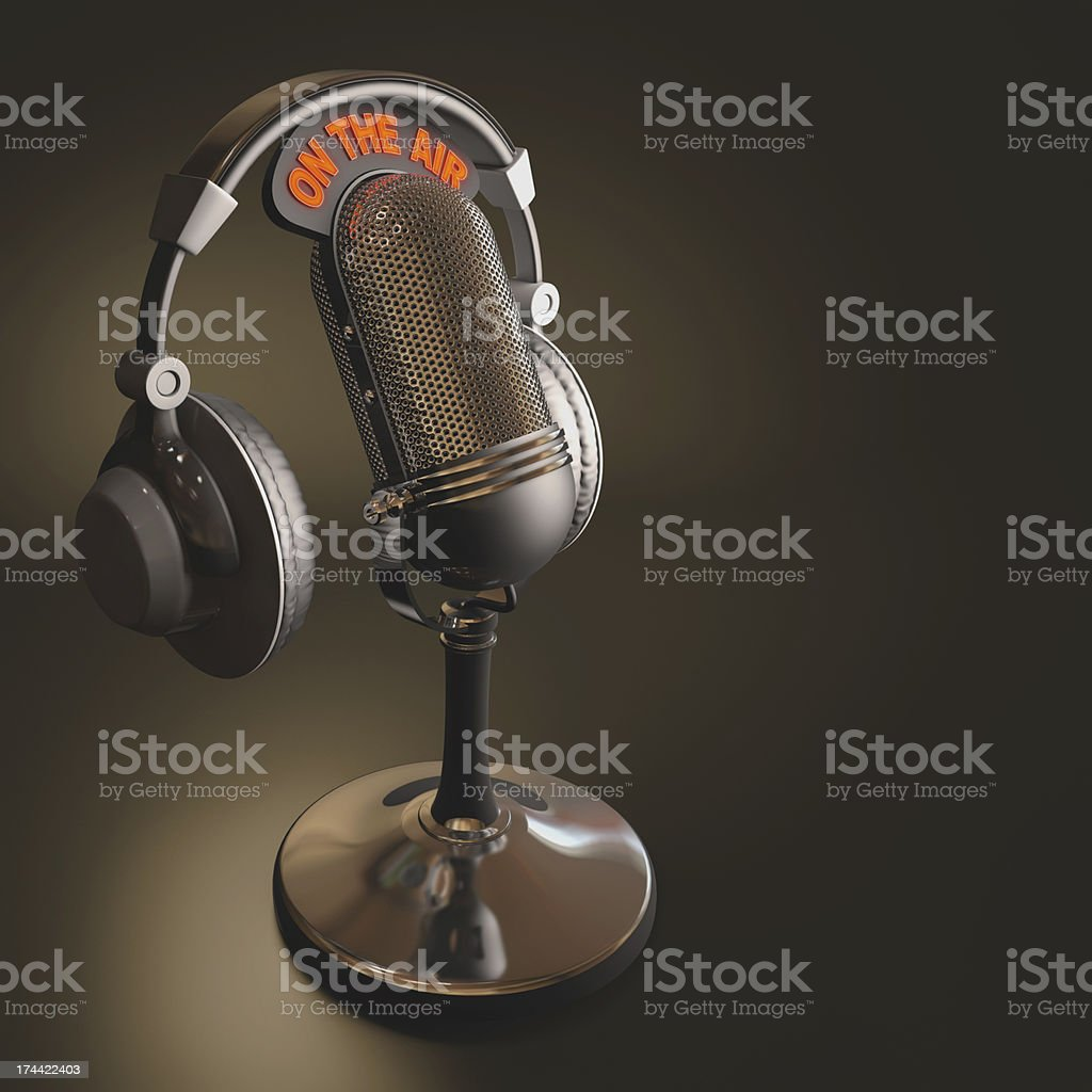 A picture of a microphone and a headset stock photo