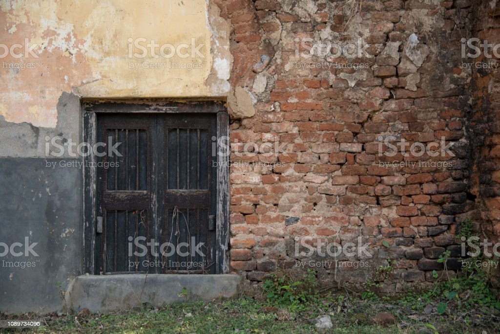 Picture of a old window from Kolkata, West Bengal, India. stock photo