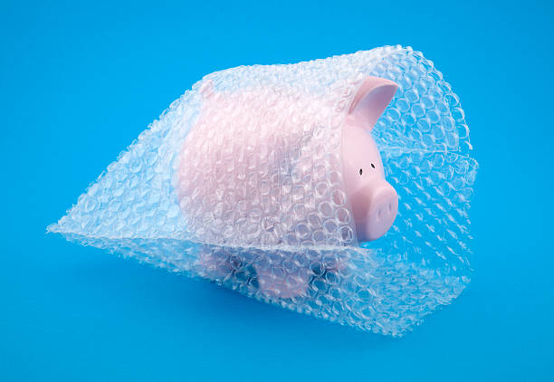 A picture of a piggy bank in bubble wrap stock photo