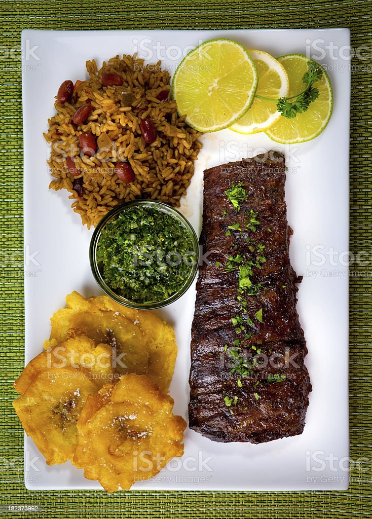 Picture of a plated skirt steak with sides stock photo