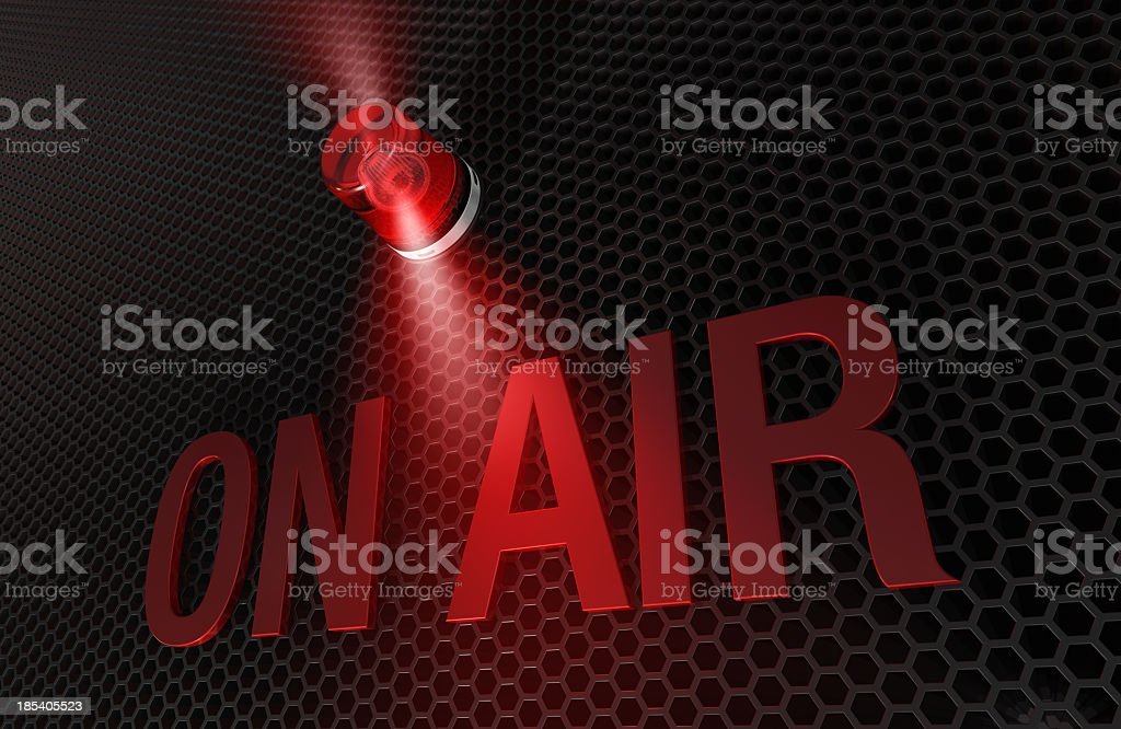 A picture of a red and black on air sign royalty-free stock photo