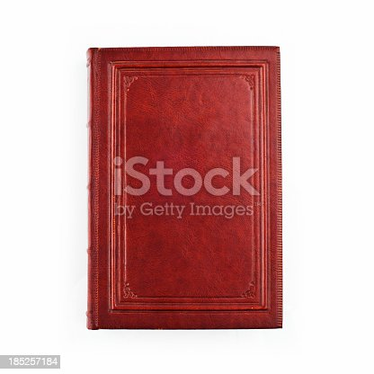 Old brown leather book cover on  the white background.