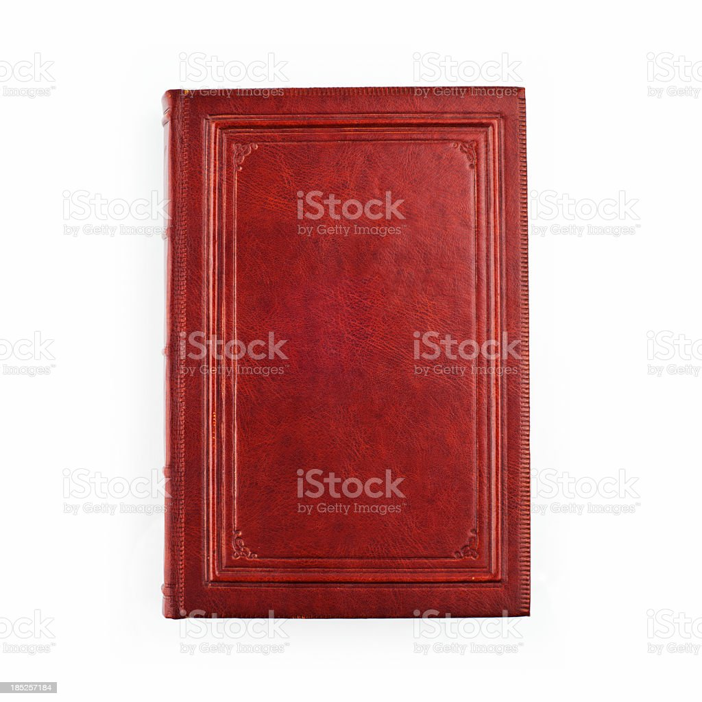 A picture of a red book on a white background stock photo