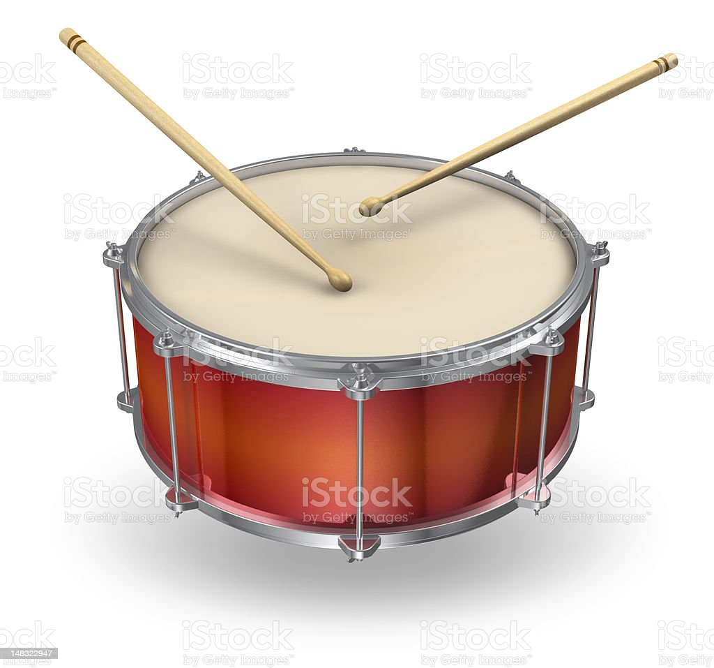 Picture of a red drum with two brown drumsticks playing it stock photo