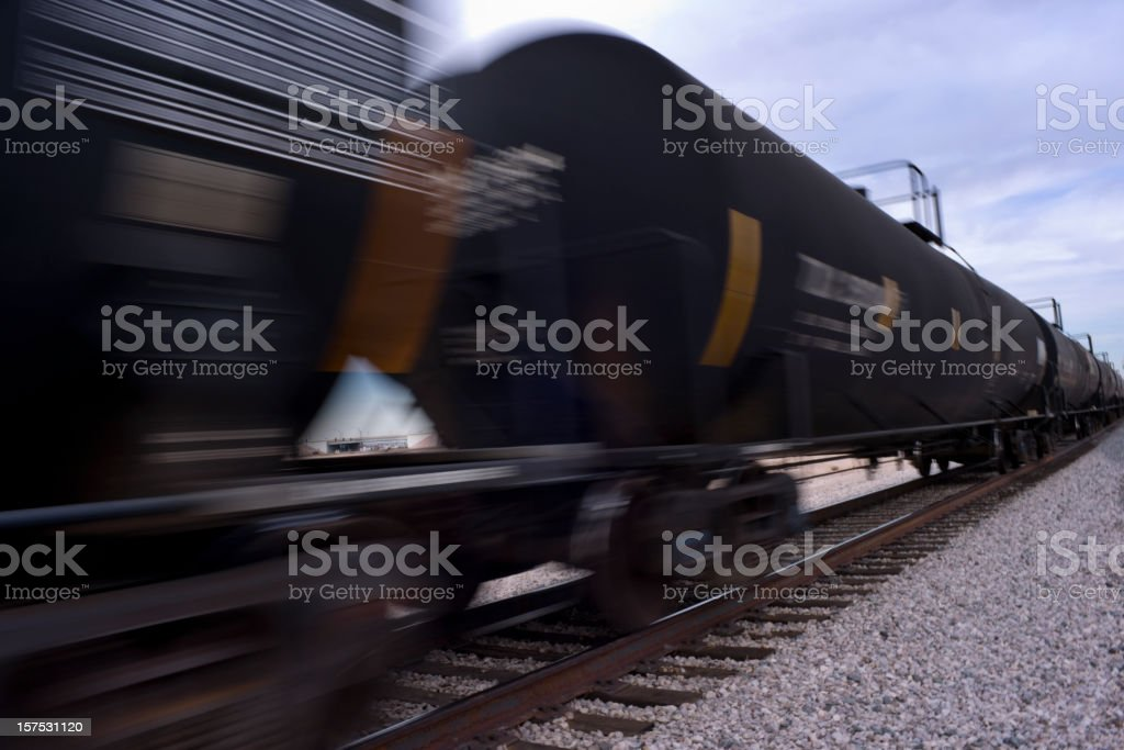 Picture of a seeding train with gravel surrounding the track royalty-free stock photo