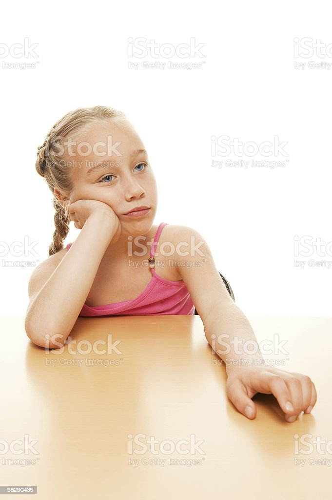 Picture of a tired schoolgirl royalty-free stock photo