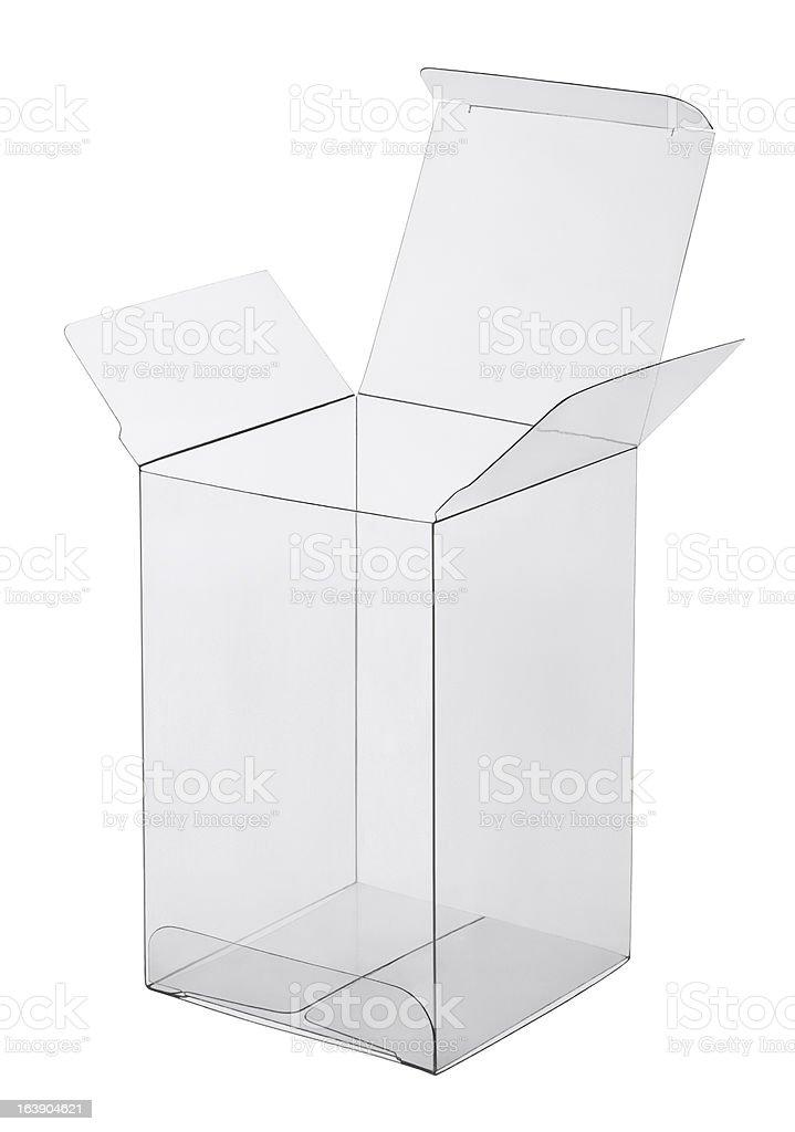 Picture of a transparent plastic box with white background royalty-free stock photo