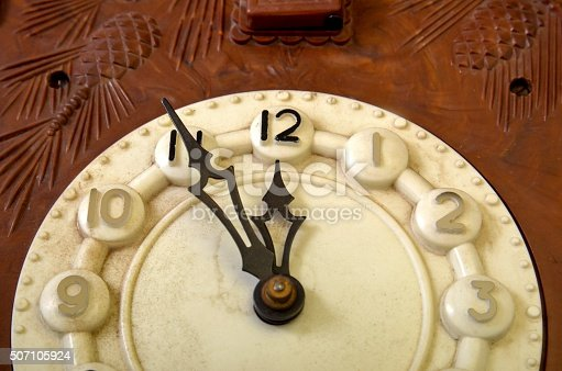 Picture of a Vintage wall clock made in USSR  . Time concept