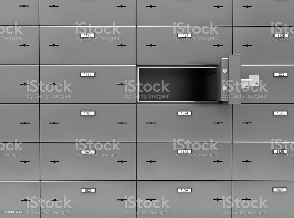 A picture of a wall of safe deposit boxes stock photo