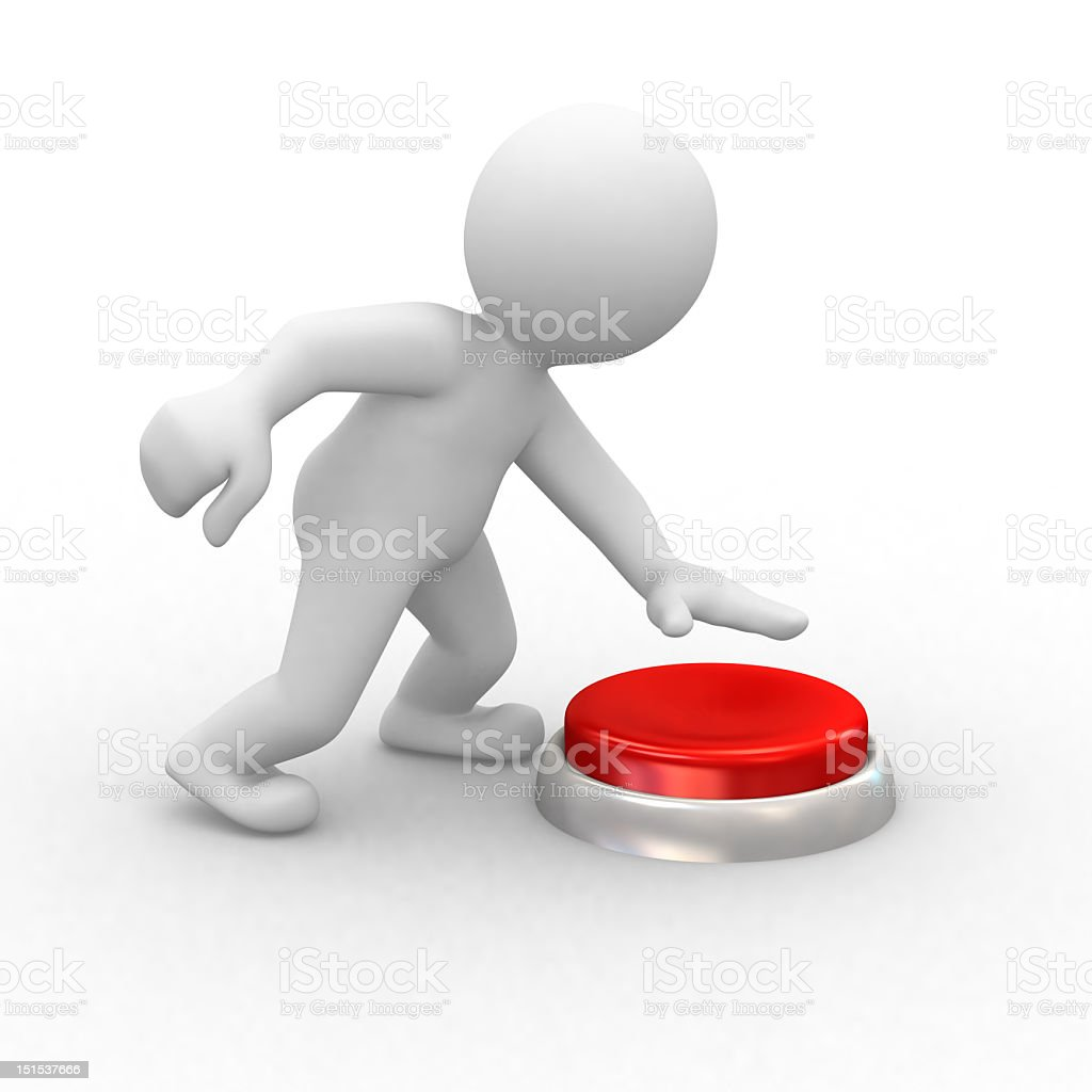 A picture of a white cartoon image pressing a red button stock photo