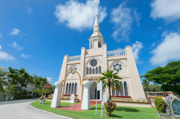 picture of a white church - guam foto e immagini stock