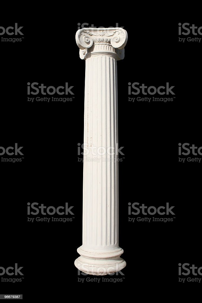 A picture of a white column against a black background stock photo