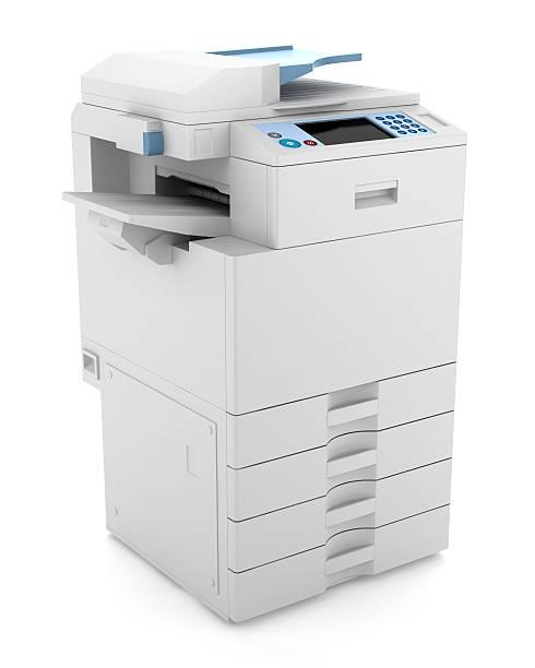 multifonctions imprimante de bureau moderne isolé sur fond blanc - photocopieuse photos et images de collection